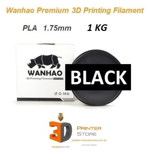 Wanhao Black pla filament 175mm 1Kg by 3D Printer Store New Zealand